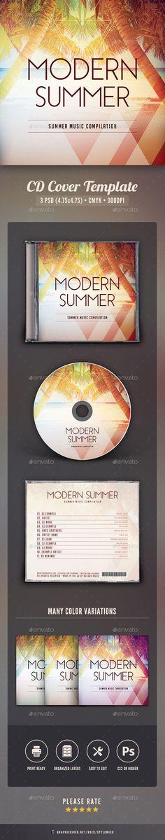Modern Summer CD Cover Artwork Template PSD. Download here: http://graphicriver.net/item/modern-summer-cd-cover-artwork/16455379?ref=ksioks