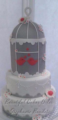 Wedding cakes Gateau de mariage Arles Beautiful Cakes Gris Grey Bird cage Cage à oiseaux https://www.facebook.com/pages/Beautiful-Cakes/126684157409973