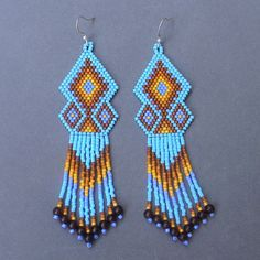 Blue and brown ethnic style  seed bead earrings  by Anabel27shop