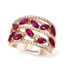 Effy® Amore Collection 0.46 ct. tw. Diamond and Ruby Ring in 14K Rose Gold