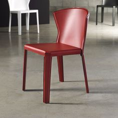 """Wrapped in leather.  Red, white or black.  32"""" high    Tilney Side Chair 