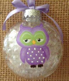 Hand painted owl christmas ornament owl by CowboyCountryCrafts