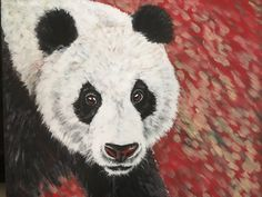 """Panda, acrylic on canvas, from the """"Red Series, Endangered animals"""", by Sara Cuthbert"""