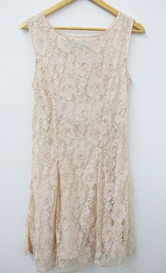 VINTAGE Pale Pink Beaded Lace Dress Sleeveless by HotSoColdVintage
