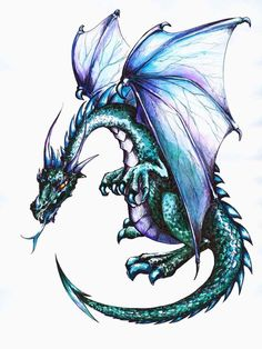 "Amazon.com - Blue Dragon Wall Decal - 12""H x 9""W - Peel and Stick Wall Decal by Wallmonkeys - Wall Banners"