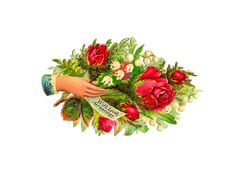 victorian art | Antique Images: Free Flower Clip Art: Victorian Red Rose Hand Whimsy ...