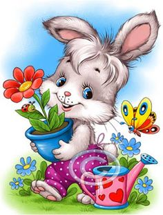 the land of bunnies Animal Pictures, Cute Pictures, Bunny Images, Easter Wallpaper, Cute Little Animals, Cute Illustration, Fabric Painting, Cute Cartoon, Cute Drawings