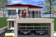 Stone House Plans, Tuscan House Plans, Dream House Plans, House Built Into Hillside, 6 Bedroom House Plans, Double Storey House Plans, African House, Modern Bungalow House, Balcony Design