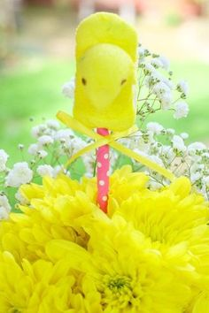 "These easy and sweet Peep Pops are perfect for ""popping"" into floral centerpieces on your Easter table! Get details and more information on how to create a cute Kids Easter Table on a budget at fernandmaple.com!"