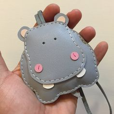 Big size - Hugo the Hippo cowhide leather charm ( Grey )