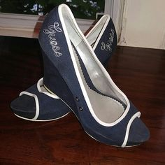 Wedges Open toe navy blue Guess wedges Guess Shoes Wedges