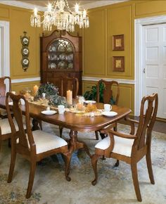 Love love love this Amish made Solid Cherry Wood Dining Room Furniture in a Queen Anne style. & Queen Anne Cherry Wood Dining Table | Pinterest | Oval table Queen ...