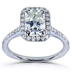 Annello by Kobelli 14k Gold 1 1/2ct TGW Radiant Moissanite and Diamond Rectangular Halo Engagement Ring