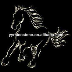 Running Horse Silhouette hot fix rhinestone transfer design