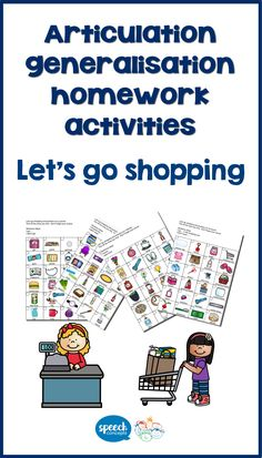 Let's go shopping helps structure homework for Articulation. I always try to find ways to fit articulation practice into family routines. Shopping is a routine that every family participates in. Children are sometimes captured in the shopping trolley and are face to face with their parent – the perfect place for practice. The resource contains 'shopping lists' for h, b, p, m, t, d, k, g, f, s, sh, l, ch, dz, l blends, s blends and r blends. Articulation Therapy, Speech Therapy Activities, Phrases And Sentences, Shopping Lists, Therapy Ideas, Speech And Language, Homework, Perfect Place, Letting Go