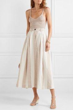 Mara Hoffman – Net Sustain Tulay Pleated Striped Organic Linen Midi Skirt – Off-white - Skirt Ideas White Linen Skirt, White Midi Skirt, Midi Skirt Outfit, Midi Skirts, Skirt Outfits, Mara Hoffman, Fashion Models, Luxury Fashion, Fashion Trends