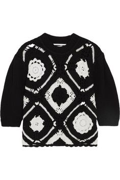 McQ Alexander McQueen - Crocheted Wool And Cotton-blend Sweater - Black -