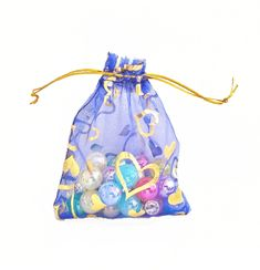 Organza Bags - 15 Blue Voile Drawstring Bags with Pretty Foil Hearts - 3.5x4 Sheer Drawstring Bag - Party Favor Bags - Jewelry Bags - BG402 #etsy #partyfavors