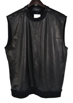 GIVENCHY - 11 AW LEATHER FRONT/COTTON BACK SIPPER VEST