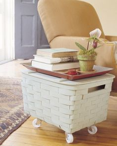 No coffee table? No problem. Put wheels on a picnic basket for instant storage with rustic charm.