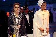 royalwatcher:  Lalla Salma of Morocco and Sheikha Mozah of Qatar at the WISH gala dinner, December 10, 2013.