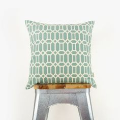 Aqua and cream geometric outdoor pillow cover for patio garden decor | 18x18 in / 45x45 cm mint green decorative pillow cover, cushion cover