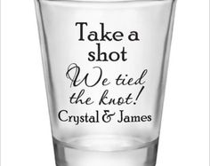 Personalized 2oz Tall Glass Shot Glasses Wedding by Factory21