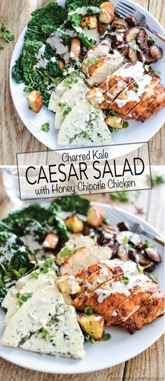 Charred Kale Caesar Salad with Honey Chipotle Chicken is a fun twist on a traditional caesar salad, using kale instead of romaine! | www.cookingandbeer.com