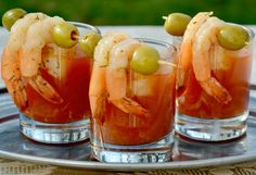 Bless a drink that comes with a snack!  Bloody Mary Shrimp Shots mmmm or maybe they should just be called Shrots?