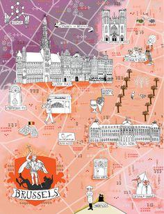 Illustrated Map of Brussels, Belgium