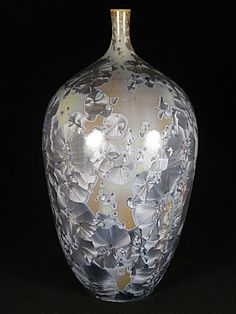 Crystalline Glaze by Algimantas Patamsis Raku Pottery, Pottery Sculpture, Glazes For Pottery, Pottery Art, Glazed Ceramic, Ceramic Art, Hand Thrown Pottery, Ceramic Flowers, Porcelain Vase