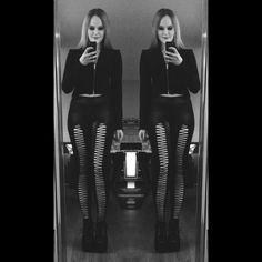 Me in my black milk clothing vamp jacket and teardrop front leggings