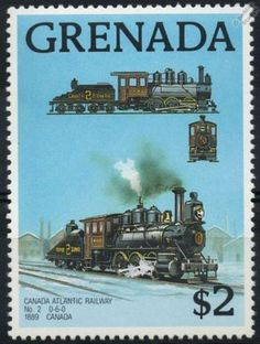 1889 CANADA ATLANTIC RAILWAY No.2 0-6-0 TRAIN STAMP Postage stamp as issued by Grenada on 23rd January 1989