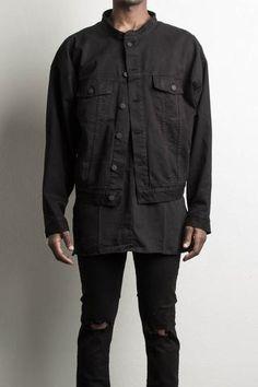 oversized denim jacket in black by daniel patrick