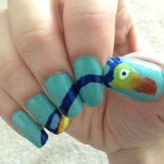 """Can I have that bird?"" -Doug about Kevin from Up! #cutenails #nailart #nails"