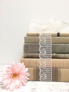 *Shabby Cottage Chic Books * Book Centerpiece *Table Setting * Bridal Shower *Pastels  ANTIQUE BOOK DECOR ~ SWEET FADED PASTEL ~ POEMS ~