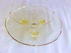 Lancaster Glass Petal Cake Plate Topaz Footed Salver - Nana's aunt's plate