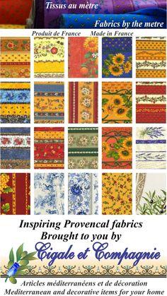 Inspiring Provencal Fabrics http://www.cigale.ca/tissus_e.htm #French #provencal #fabrics