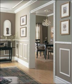 Modern Wainscoting Hallways traditional wainscoting home.Traditional Wainscoting Home. Baseboard Styles, Wainscoting Styles, Faux Wainscoting, Wainscoting Bedroom, Bedroom Wall, Taupe Walls, Taupe Paint, Moldings And Trim, Wall Art