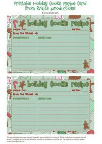 Free Printable Christmas Cards | Free Printable Holiday Cookie Recipe Cards by B.Nute productions