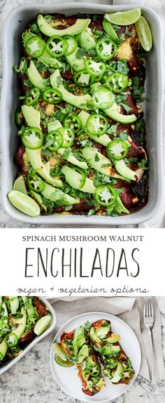 Spinach Mushroom Walnut Enchiladas! This delicious weeknight dinner is comforting and so easy to put together. Vegan and vegetarian options! via @gratefulgrazer