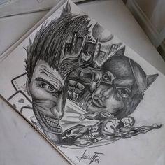 """Lucie Fog 🎨 (@lucie_fog) na Instagramu: """"Co si budeme povidat nekolika hodinova pracicka to byla, ale když to má mít na sobě někdo celý život"""" #art #draw #tattoo #dc #comic #joker #catwoman #batman #superman #drawing #pencil Superman, Batman, Cat Women, Cartoon Drawings, Portrait, Instagram, Portrait Illustration, Portraits, Head Shots"""