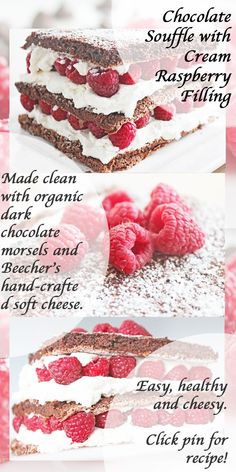 Clean Eating Dessert: Stacked Chocolate Soufflé with Cream Raspberry Filling Clean Eating Diet Plan, Clean Eating Desserts, Healthy Treats, Easy Healthy Recipes, Healthy Food, Delicious Desserts, Yummy Food, Fun Food, Organic Dark Chocolate