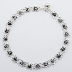 HANDCRAFTED ANKLET NOW $54.95aus With FREE SHIPPING WORLD WIDE.. SAVE THIS PIN OR BUY NOW FROM LINK HERE  http://www.ebay.com.au/itm/Anklet-sterling-925-silver-delicate-fancy-flower-charms-handcrafted-270mm-chain-/172034021353?ssPageName=STRK:MESE:IT