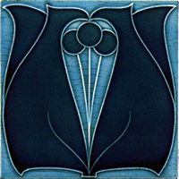 Art Deco-style tile, light blue surround, navy shapes.