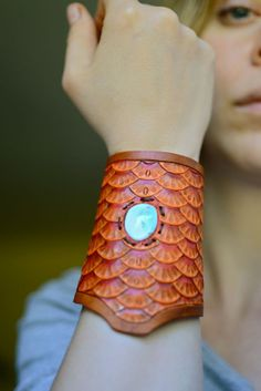 "Fish Scale Cuff. Hand Tooled Leather. Inlaid Sleeping Beauty Turquoise. ~This does not fit my ""large bones"" but if it did...Wow."