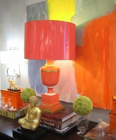 Gorgeous pops of orange color in this vignette. Decor, Colorful Interiors, Interior, Table Style, Home Decor, Orange, Inspiration, Interior Design, Furnishings