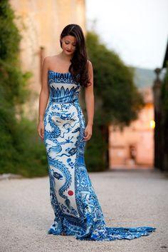 China blue dragon print