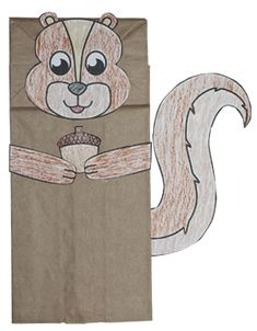 Free pattern download to make a squirrel paper bag puppet