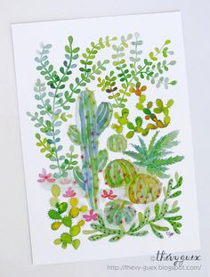 Cacti and Succulent Jungle Postcard/Watercolor by thevysherbarium